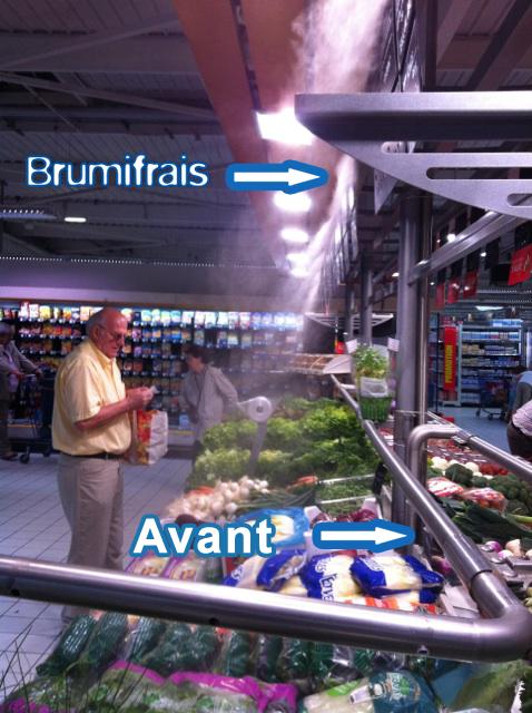 comparaison brumisation et nébulisation au rayon fruit et légume